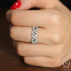 925 Ayar Gümüş Zirkon Taşlı Kalp Tamtur Yüzük - Thumbnail