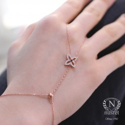 925 Ayar Rose Gümüş Dörtgen Mekik Modeli Şahmeran - Thumbnail