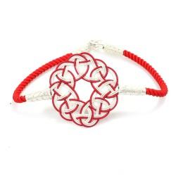 999 Ayar Gümüş Kırmızı Aşk Düğümü Kazaz Bileklik - Thumbnail