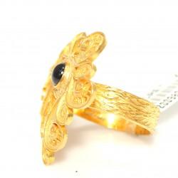 22 Ayar Altın Safir Taşlı Antik Yüzük - Thumbnail
