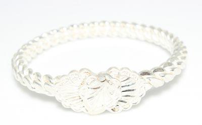 Beyaz Yaprak Kaşlı 925 Ayar Gümüş Dört tel Adana Burma Bilezik