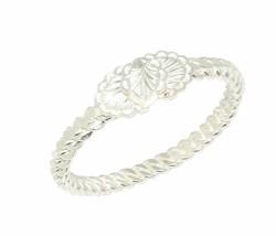 Beyaz Yaprak Kaşlı 925 Ayar Gümüş Dört tel Adana Burma Bilezik - Thumbnail