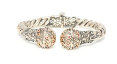22 Ayar Altın ve Gümüş Taşlı Çift Toplu Burma Bilezik