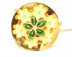 22 Ayar Altın Çanaklı Papatya Çiçek Model Yüzük - Thumbnail