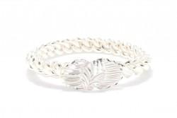 925 Ayar Gümüş Beyaz Yaprak Kaşlı Burma Bilezik - Thumbnail