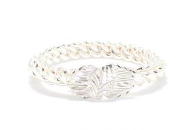 925 Ayar Gümüş Beyaz Yaprak Kaşlı Burma Bilezik