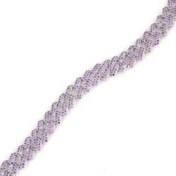 Gümüş Mor Taşlı Gurmet Zincir Bileklik - Thumbnail