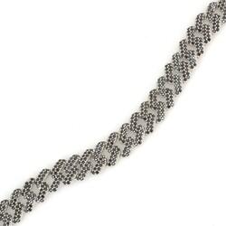 Gümüş Siyah Taşlı Gurmet Zincir Bileklik - Thumbnail