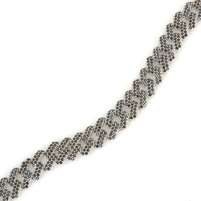 Gümüş Siyah Taşlı Gurmet Zincir Bileklik