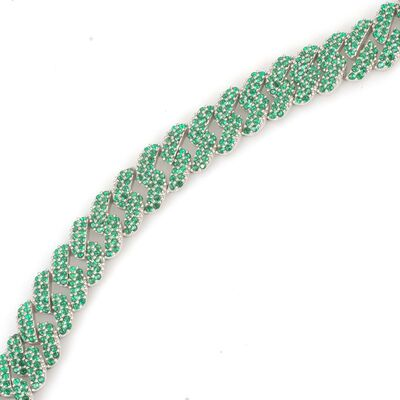 Gümüş Yeşil Taşlı Gurmet Zincir Bileklik