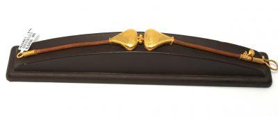 24 Ayar Altın Dövmeli Üçgen Model Kahverengi Deri Bileklik