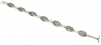 925 Ayar Gümüş ve Bronz Karışımı Oval Parçalı Yeşil Taşlı Antik Bileklik
