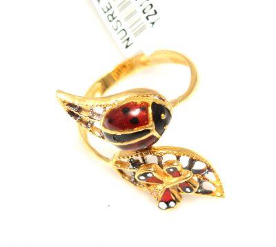 22 Ayar Altın Uğur Böceği Mineli Yüzük