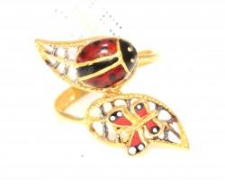 22 Ayar Altın Uğur Böceği Mineli Yüzük - Thumbnail