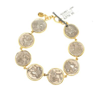 24 Ayar Altın Gümüş Resimli Bileklik, Yuvarlak