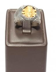 İskender Kafası 24 Ayar Altın Gümüş Yüzük - Thumbnail