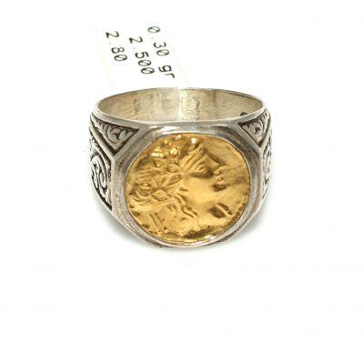 Alexander Desenli 24 Ayar Altın ve Gümüş Yüzük