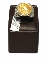 Alexander Desenli 24 Ayar Altın ve Gümüş Yüzük - Thumbnail