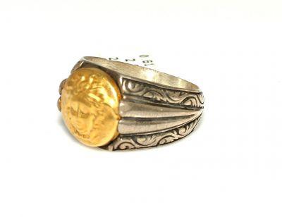 Medusa Resimli 24 Ayar Altın Gümüş Yüzük