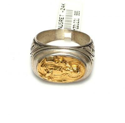 Meryem Ana Resimli 24 Ayar Altın Gümüş Yüzük