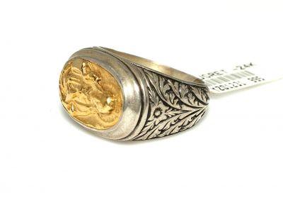 24 Ayar Altın Gümüş Meryem Ana Resimli Yüzük