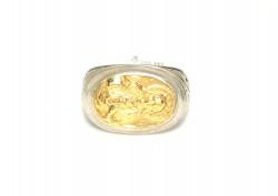 24 Ayar Altın Gümüş Meryem Ana Resimli Yüzük - Thumbnail