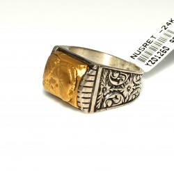 24 Ayar Altın Gümüş Miğfer Savaşçısı Resimli Yüzük - Thumbnail