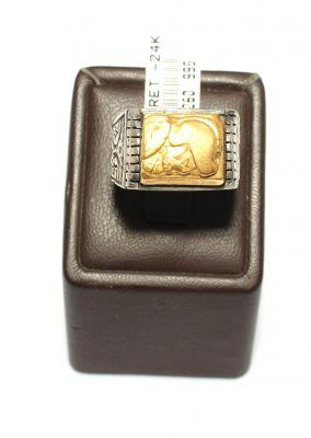 24 Ayar Altın Gümüş Miğfer Savaşçısı Resimli Yüzük