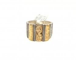 24 Ayar Altın ve Gümüş Dövme Desenli Resimli Yüzük - Thumbnail
