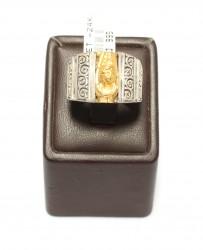 24 Ayar Altın Gümüş Resimli Yüzük - Thumbnail