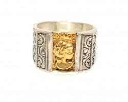 24 Ayar Altın Gümüş Figür Desenli Yüzük - Thumbnail