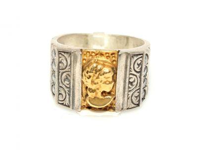 24 Ayar Altın Gümüş Figür Desenli Yüzük