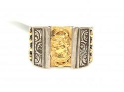 24 Ayar Altın Gümüş Elizabeth Yüzüğü - Thumbnail