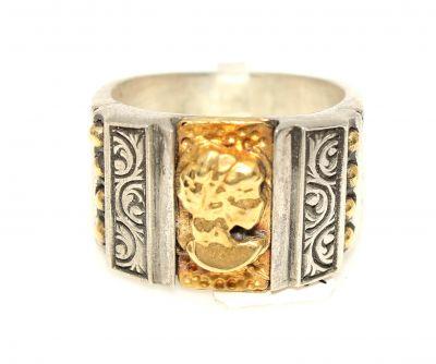 Elizabeth Desenli 24 Ayar Altın Gümüş Yüzük