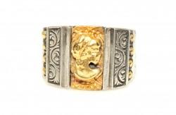 Elizabeth Desenli 24 Ayar Altın Gümüş Yüzük - Thumbnail