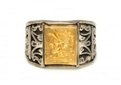 Truva Askeri 24 Ayar Altın Gümüş Yüzük - Thumbnail