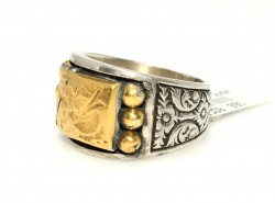 Miğferli Savaşçı 24 Ayar Altın Gümüş Yüzük - Thumbnail