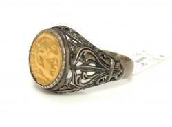 24 Ayar Altın & Gümüş Resimli Yüzük - Thumbnail