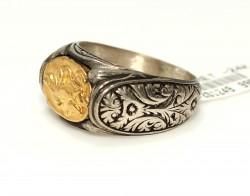 24 Ayar Altın ve Gümüş Resimli Yüzük - Thumbnail