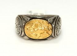 Resimli 24 Ayar Altın Gümüş Yüzük - Thumbnail