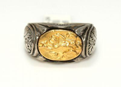 Resimli 24 Ayar Altın Gümüş Yüzük