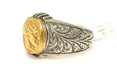 24 Ayar Altın Gümüş İskender Kafası Desenli Yüzük