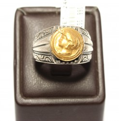 24K Altın ve Gümüş Resimli Yüzük - Thumbnail
