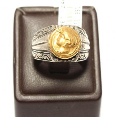 24K Altın ve Gümüş Resimli Yüzük