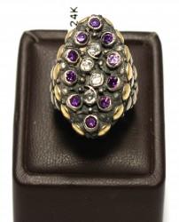24 Ayar Altın Gümüş Ametist Taşlı Güverseli Yüzük - Thumbnail