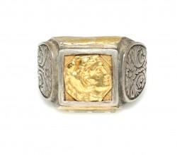 Kare Alexander Kafası 24 Ayar Altın ve Gümüş Yüzük - Thumbnail