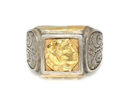 Kare Alexander Kafası 24 Ayar Altın ve Gümüş Yüzük