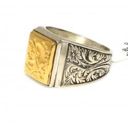 Kare Truva Askeri 24 Ayar Altın ve Gümüş Yüzük - Thumbnail