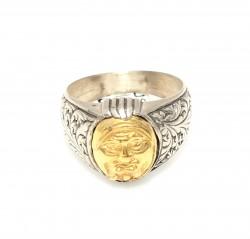 24 Ayar Altın Gümüş Surat Figürlü Yüzük - Thumbnail