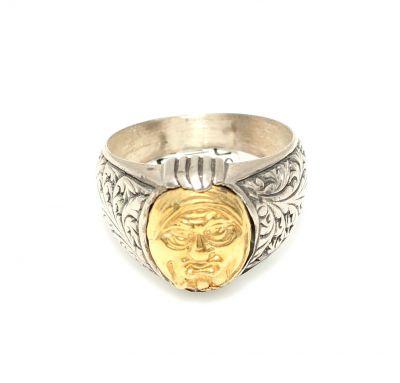 24 Ayar Altın Gümüş Surat Figürlü Yüzük